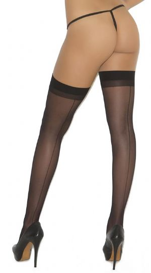 Black Seamed Stockings with plain Tops - Elegant Moments